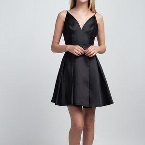 black taffeta cocktail homecoming formal dress